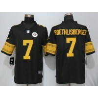 Men's Pittsburgh Steelers #7 Ben Roethlisberger Nike Black Color Rush Limited Jersey