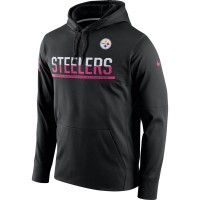 Men's Pittsburgh Steelers Black Breast Cancer Awareness Circuit Performance Pullover Hoodie