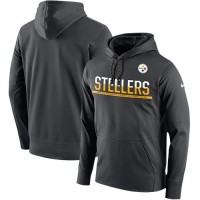Men's Pittsburgh Steelers Nike Anthracite Sideline Circuit Pullover Performance Hoodie