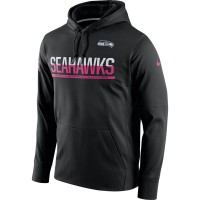 Men's Seattle Seahawks Black Breast Cancer Awareness Circuit Performance Pullover Hoodie
