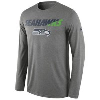 Men's Seattle Seahawks Nike Charcoal Legend Staff Practice Long Sleeves Performance T-Shirt