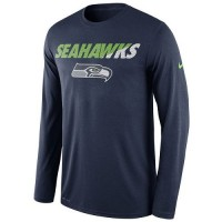 Men's Seattle Seahawks Nike Navy Legend Staff Practice Long Sleeves Performance T-Shirt