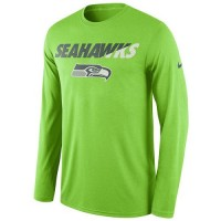 Men's Seattle Seahawks Nike Neon Green Legend Staff Practice Long Sleeves Performance T-Shirt