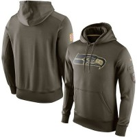 Men's Seattle Seahawks Nike Olive Salute To Service KO Performance Hoodie