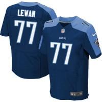 Men's Tennessee Titans #77 Taylor Lewan Navy Blue Elite NFL Jersey