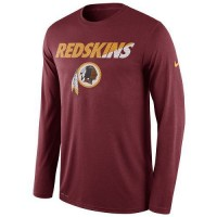 Men's Washington Redskins Nike Burgundy Legend Staff Practice Long Sleeves Performance T-Shirt
