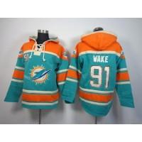 Miami Dolphins #91 Cameron Wake Aqua Green Sawyer Hooded Sweatshirt NFL Hoodie