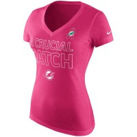 Miami Dolphins Nike Women's Breast Cancer Awareness V Neck Tri Blend T-Shirt Pink