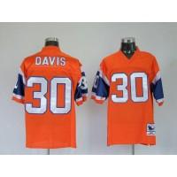 Mitchel & Ness Broncos #30 Terrell Davis Orange Stitched Throwback NFL Jersey