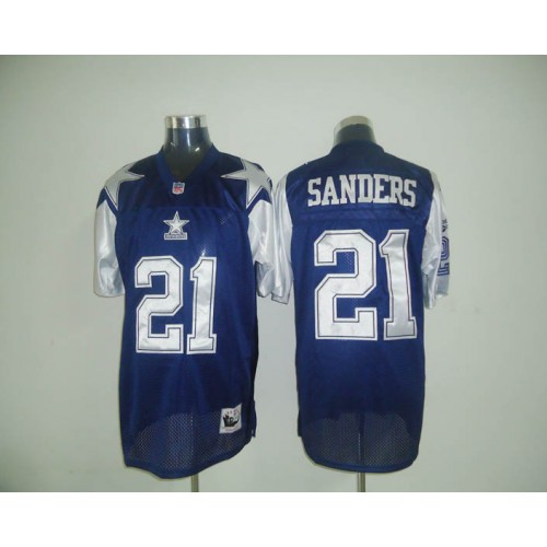 45d5becfb Mitchell   Ness Cowboys  21 Deion Sanders Blue Stitched Throwback NFL Jersey