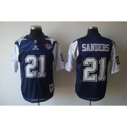 6a076ade76e Mitchell   Ness Cowboys  21 Deion Sanders BlueWhite With 75TH Stitched  Throwback NFL Jersey