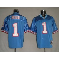 Mitchell & Ness Houston Oilers #1 Warren Moon Baby Blue Stitched Throwback NFL Jersey