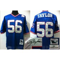 Mitchell And Ness Autographed Giants #56 Lawrence Taylor Blue Stitched Throwback NFL Jersey