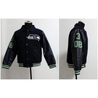 Mitchell And Ness NFL Seattle Seahawks #3 Russell Wilson Authentic Wool Jacket