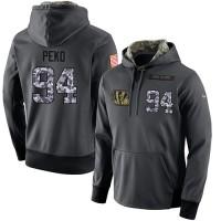 NFL Men's Nike Cincinnati Bengals #94 Domata Peko Stitched Black Anthracite Salute to Service Player Performance Hoodie