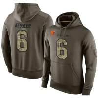 NFL Men's Nike Cleveland Browns #6 Cody Kessler Stitched Green Olive Salute To Service KO Performance Hoodie