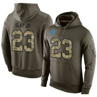 NFL Men's Nike Detroit Lions #23 Darius Slay JR Stitched Green Olive Salute To Service KO Performance Hoodie
