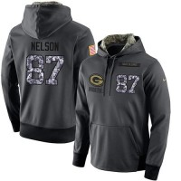 NFL Men's Nike Green Bay Packers #87 Jordy Nelson Stitched Black Anthracite Salute to Service Player Performance Hoodie