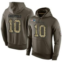 NFL Men's Nike New England Patriots #10 Jimmy Garoppolo Stitched Green Olive Salute To Service KO Performance Hoodie