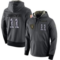 NFL Men's Nike Oakland Raiders #11 Sebastian Janikowski Stitched Black Anthracite Salute to Service Player Performance Hoodie