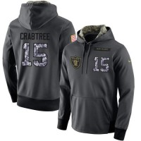 NFL Men's Nike Oakland Raiders #15 Michael Crabtree Stitched Black Anthracite Salute to Service Player Performance Hoodie