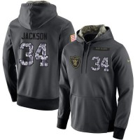 NFL Men's Nike Oakland Raiders #34 Bo Jackson Stitched Black Anthracite Salute to Service Player Performance Hoodie