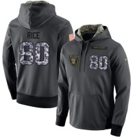NFL Men's Nike Oakland Raiders #80 Jerry Rice Stitched Black Anthracite Salute to Service Player Performance Hoodie