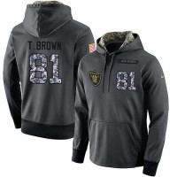 NFL Men's Nike Oakland Raiders #81 Tim Brown Stitched Black Anthracite Salute to Service Player Performance Hoodie
