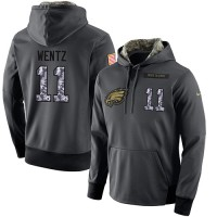 NFL Men's Nike Philadelphia Eagles #11 Carson Wentz Stitched Black Anthracite Salute to Service Player Performance Hoodie