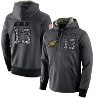 NFL Men's Nike Philadelphia Eagles #13 Nelson Agholor Stitched Black Anthracite Salute to Service Player Performance Hoodie
