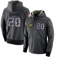 NFL Men's Nike Philadelphia Eagles #20 Brian Dawkins Stitched Black Anthracite Salute to Service Player Performance Hoodie