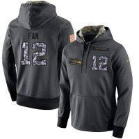 NFL Men's Nike Seattle Seahawks #12 Fan Stitched Black Anthracite Salute to Service Player Performance Hoodie