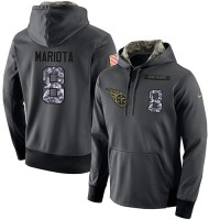 NFL Men's Nike Tennessee Titans #8 Marcus Mariota Stitched Black Anthracite Salute to Service Player Performance Hoodie