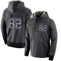 NFL Men's Nike Tennessee Titans #82 Delanie Walker Stitched Black Anthracite Salute to Service Player Performance Hoodie