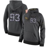 NFL Women's Nike Arizona Cardinals #93 Calais Campbell Stitched Black Anthracite Salute to Service Player Performance Hoodie