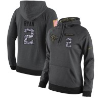 NFL Women's Nike Atlanta Falcons #2 Matt Ryan Stitched Black Anthracite Salute to Service Player Performance Hoodie