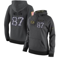 NFL Women's Nike Green Bay Packers #87 Jordy Nelson Stitched Black Anthracite Salute to Service Player Performance Hoodie