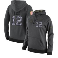 NFL Women's Nike Indianapolis Colts #12 Andrew Luck Stitched Black Anthracite Salute to Service Player Performance Hoodie