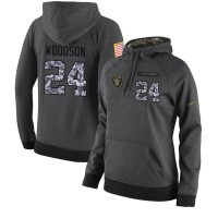 NFL Women's Nike Oakland Raiders #24 Charles Woodson Stitched Black Anthracite Salute to Service Player Performance Hoodie