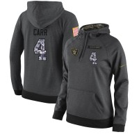 NFL Women's Nike Oakland Raiders #4 Derek Carr Stitched Black Anthracite Salute to Service Player Performance Hoodie