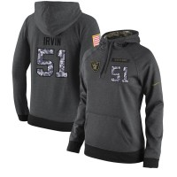 NFL Women's Nike Oakland Raiders #51 Bruce Irvin Stitched Black Anthracite Salute to Service Player Performance Hoodie