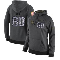 NFL Women's Nike Oakland Raiders #80 Jerry Rice Stitched Black Anthracite Salute to Service Player Performance Hoodie