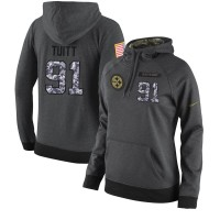 NFL Women's Nike Pittsburgh Steelers #91 Stephon Tuitt Stitched Black Anthracite Salute to Service Player Performance Hoodie