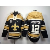 New Orleans Saints #12 Marques Colston Black Sawyer Hooded Sweatshirt NFL Hoodie