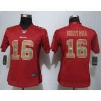 Nike 49ers #16 Joe Montana Red Team Color Women's Stitched NFL Elite Strobe Jersey