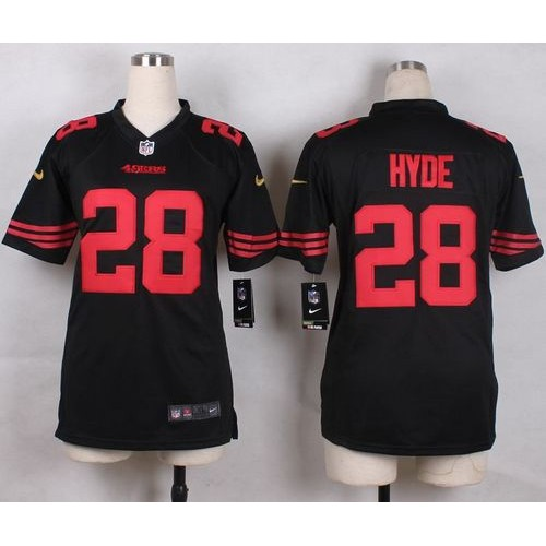 Nike 49ers  28 Carlos Hyde Black Alternate Youth Stitched NFL Elite Jersey 401267056