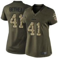Nike 49ers #41 Antoine Bethea Green Women's Stitched NFL Limited Salute to Service Jersey