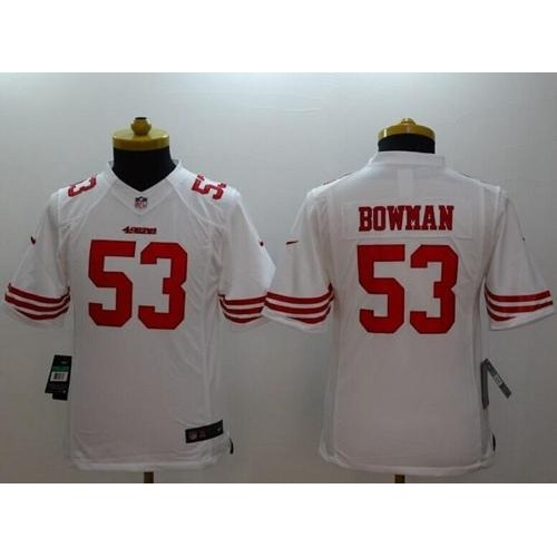 bdfd7213129 Nike 49ers  53 NaVorro Bowman White Youth Stitched NFL Limited Jersey