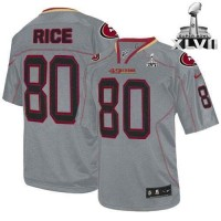 Nike 49ers #80 Jerry Rice Lights Out Grey Super Bowl XLVII Men's Stitched NFL Elite Jersey