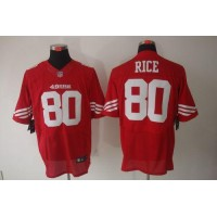 Nike 49ers #80 Jerry Rice Red Team Color Men's Stitched NFL Elite Jersey